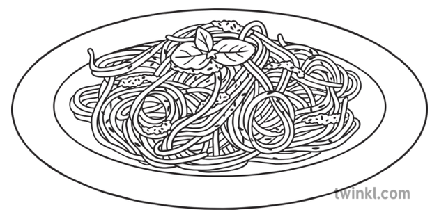 Spaghetti and Pesto Italian Food Pasta KS1 Black and White.