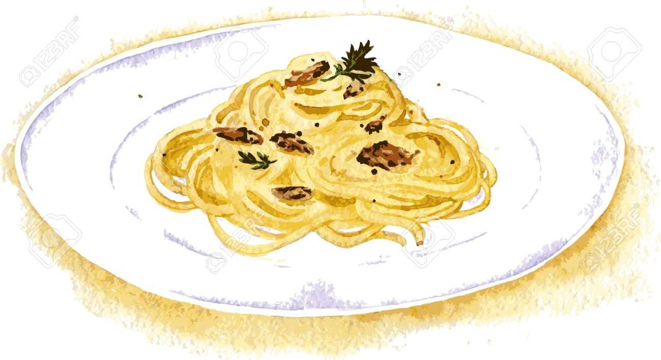 Vector Illustration Of Spaghetti Carbonara Painting By Watercolor.