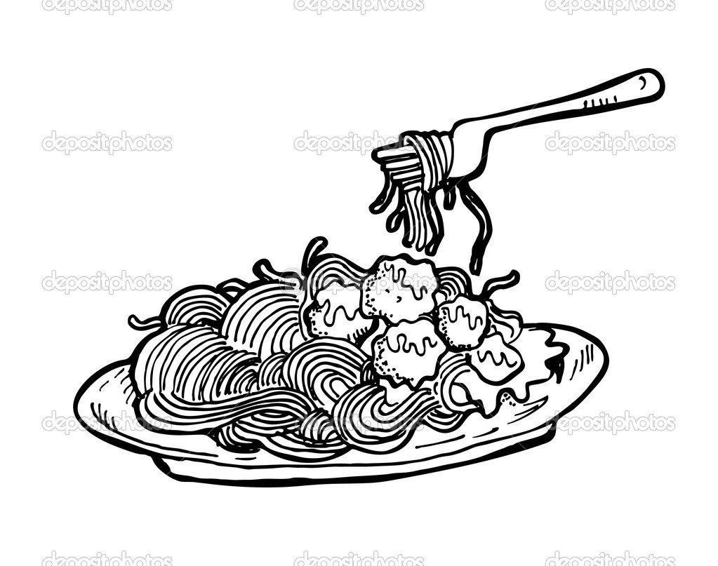 National Spaghetti Day Black White Clipart.