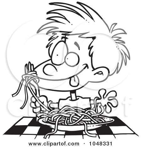 Italian Food Black And White Clipart.