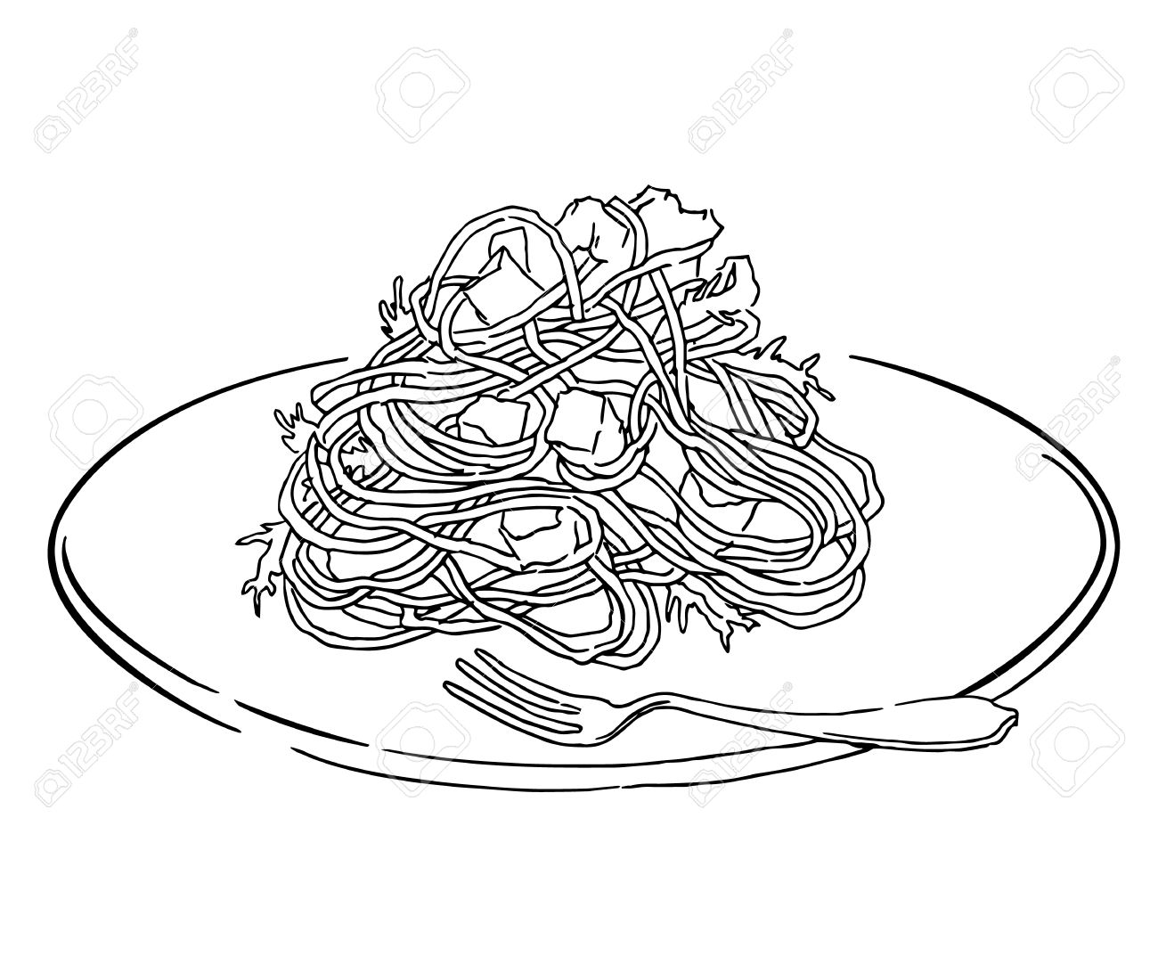 Line Art Food : Spaghetti food clipart black and white clipground