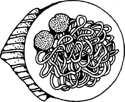 Spaghetti And Meatballs clip art Clipart Graphic.