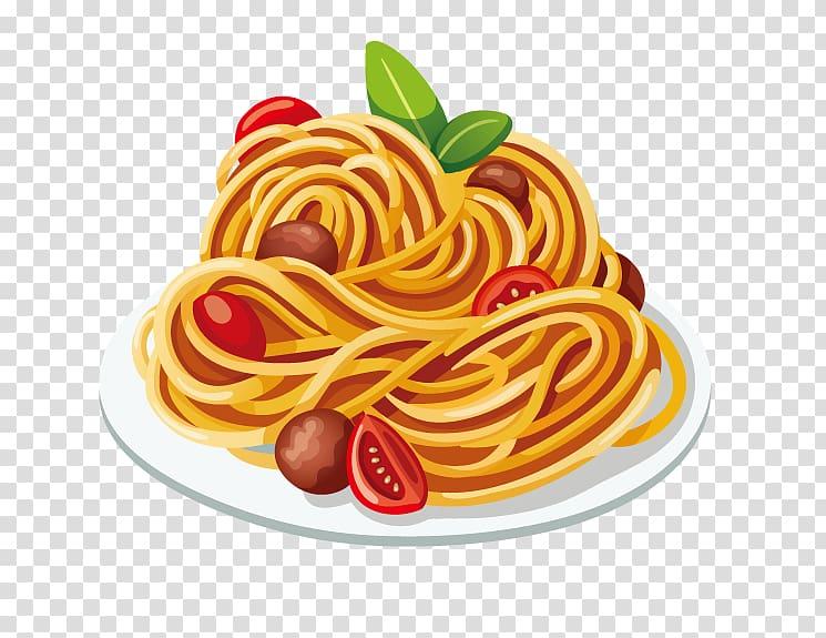 Spaghetti illustration, Pasta Italian cuisine Spaghetti with.