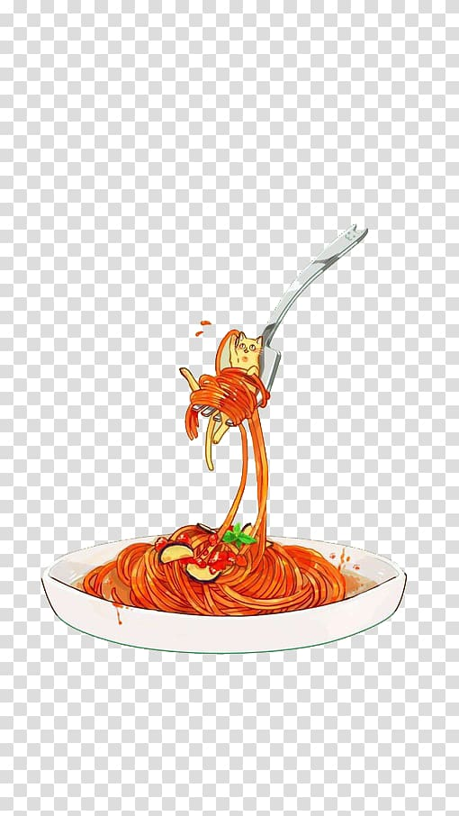 Fork with pasta illustration, Pasta Chinese noodles Ramen.