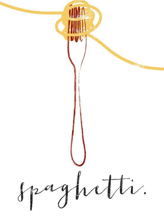 Spaghetti & Fork graphic culinary art illustration signed.