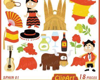 SPAIN clip art, Cute toreador clipart, Spanish Guitar art.