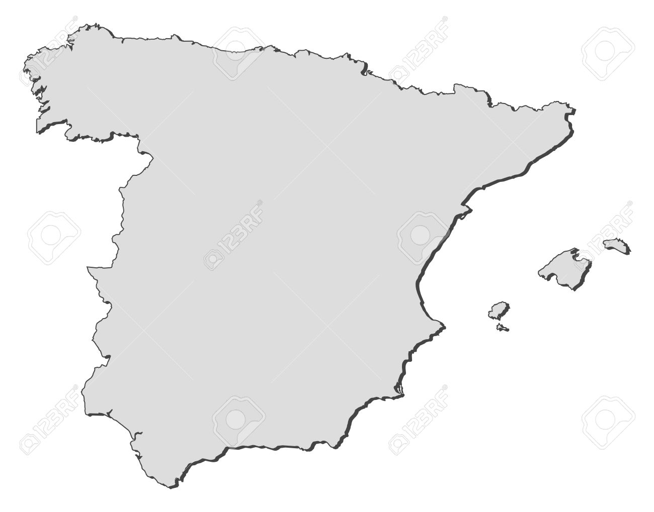 Plain White Spain Clipart Map.