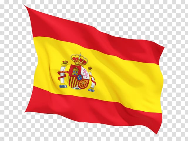 Yellow and red flag, Spain Flag Wave transparent background.