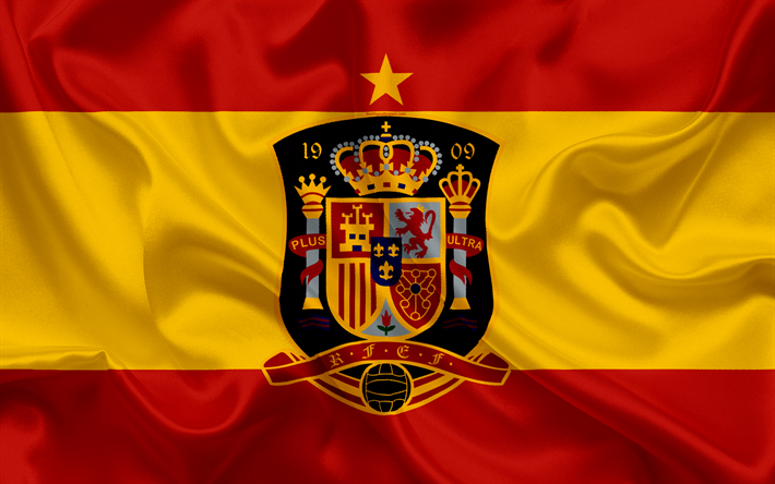 Download wallpapers Spain national football team, emblem.