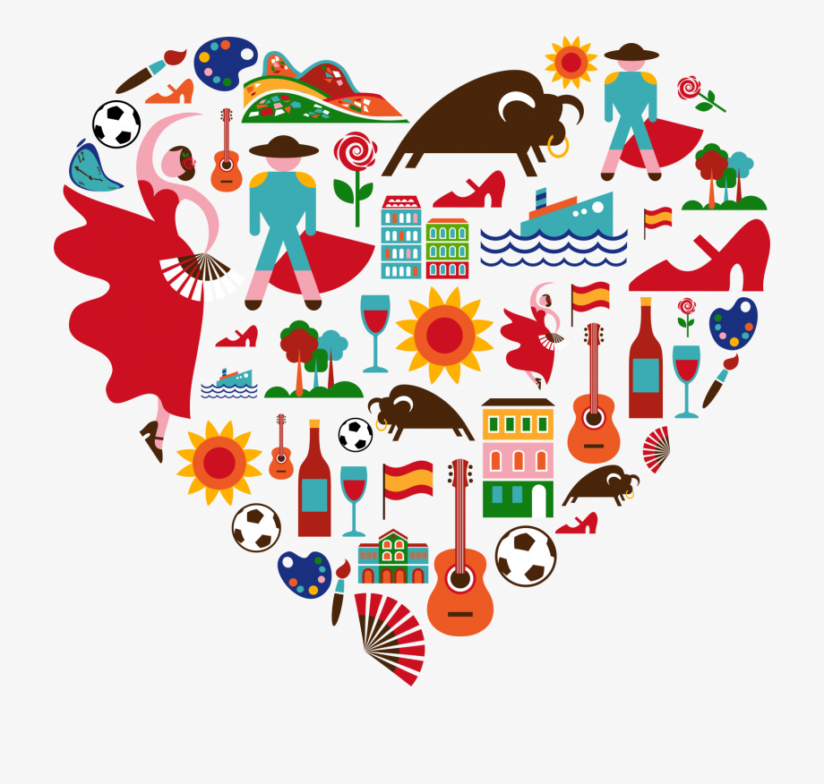 Spanish Clipart Collage Heart.