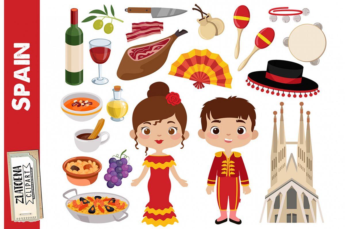 Spain clip art Spanish clipart Fiesta clipart Hamon Paela.