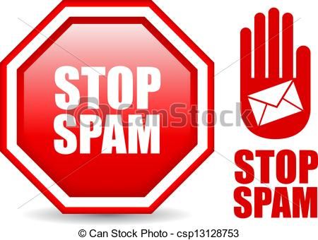 Clipart Vector of Stop spam sign, vector illustration csp13128753.