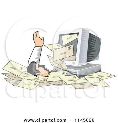 Clipart of a Desktop Computer Spewing out Email and Burying a Man.