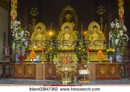 "Stock Photo of ""Buddha statues with an altar in Linh Thuu Pagoda."