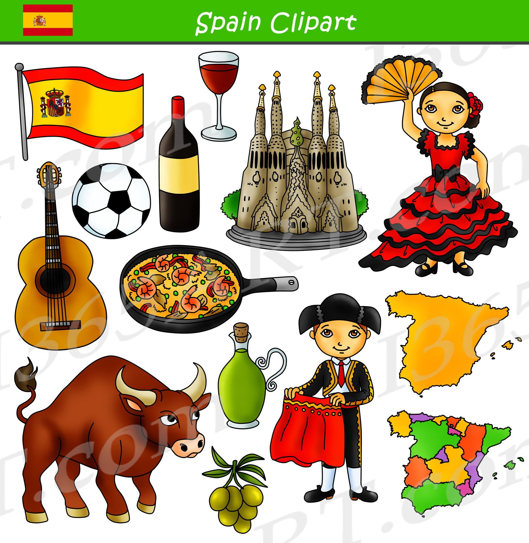 Spain Clipart Culture Graphics Bundle Set in 2019.