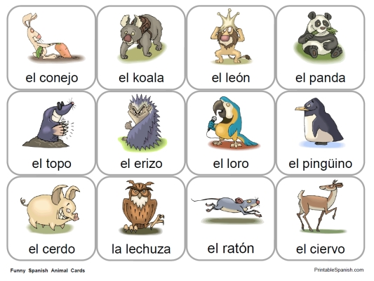 Fun Spanish Animal Cards available only at PrintableSpanish.com.