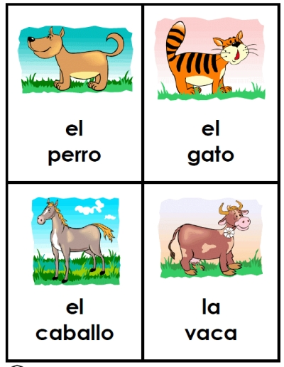 Free Spanish Animal Friends cards.