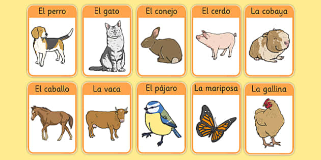 Los animales de la granja Farm Animals in Spanish Flashcards.