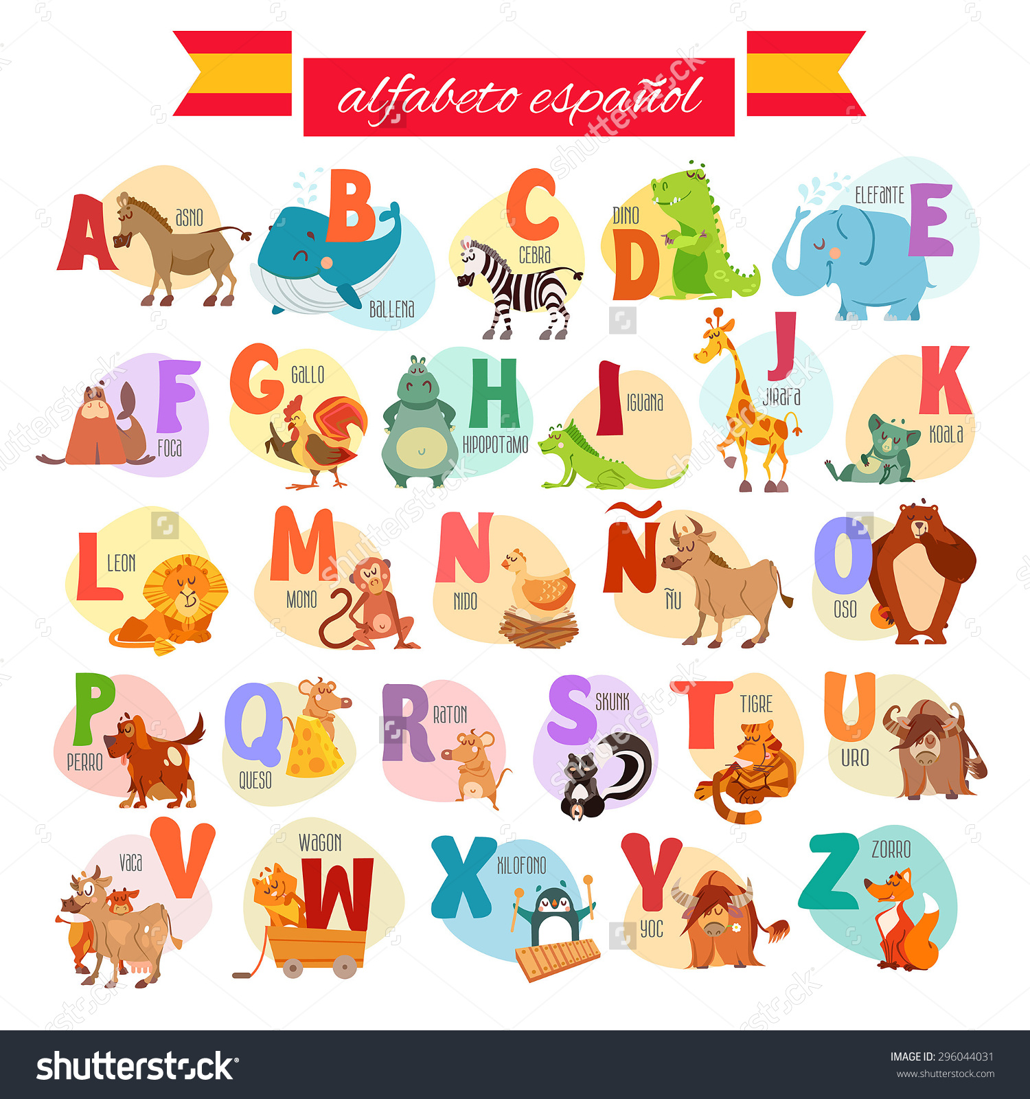 Cute Cartoon Spanish Illustrated Alphabet Animals Stock Vector.