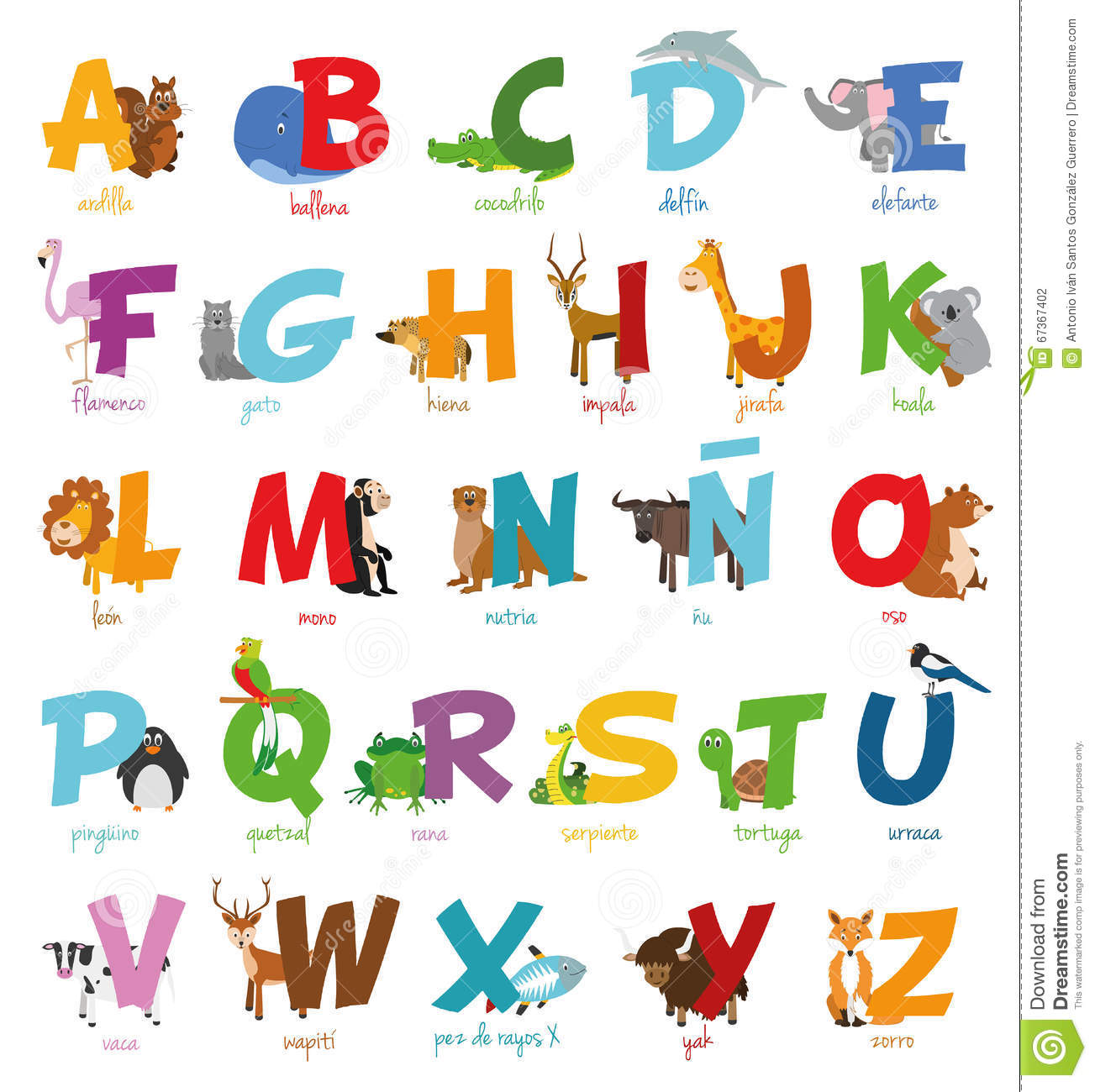 Cute Cartoon Zoo Illustrated Alphabet With Funny Animals. Spanish.