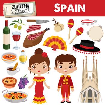 Spain clip art Spanish clipart Fiesta clipart Jamon Paela Flamenco Matador.