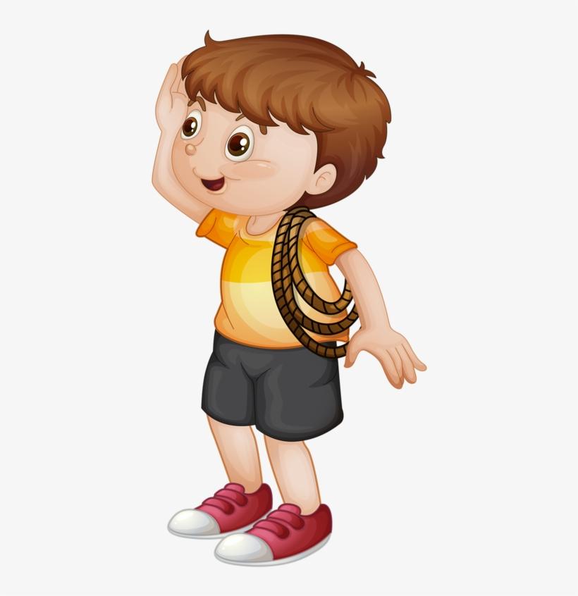 Little Boy W/ Rope Clip Art Clipart Boy, School Clipart.