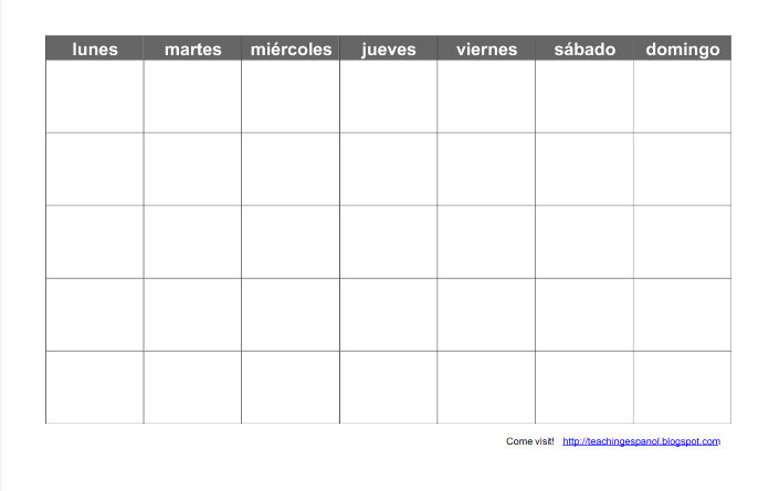 Free Spanish Clipart For Teachers Of A Calendar.