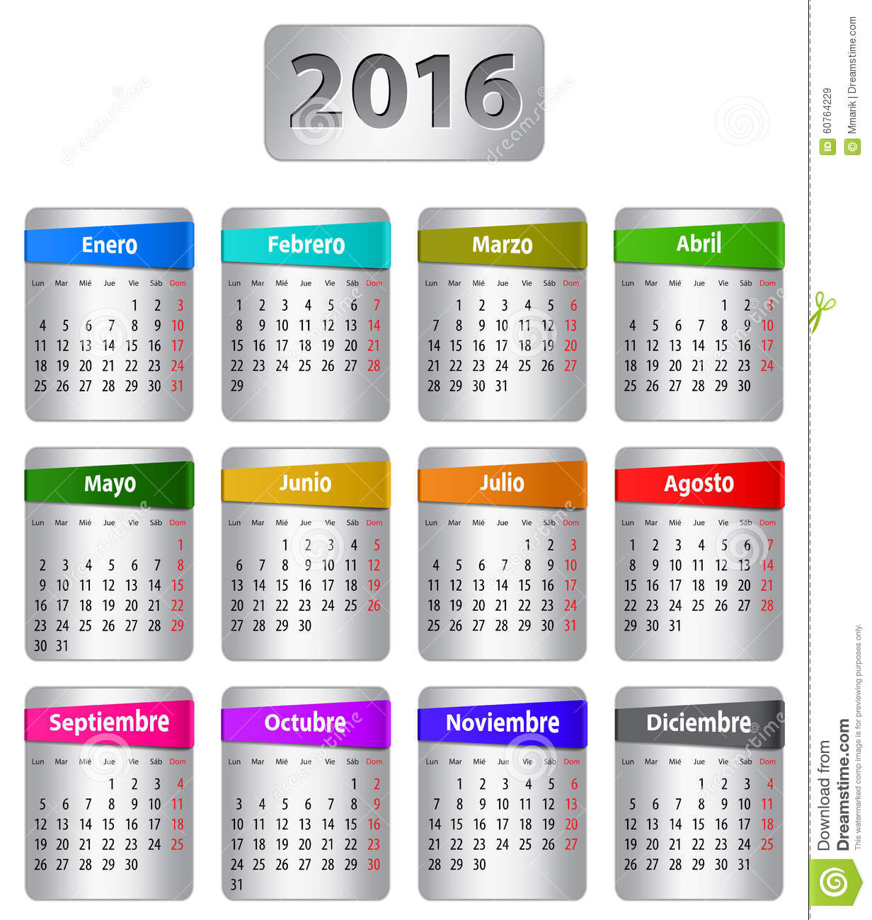 2016 Spanish Calendar Stock Vector.