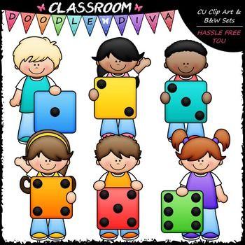 Colorful Dice Kids Clip Art.