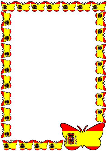Spain Flag Themed Lined paper and Pageborders.