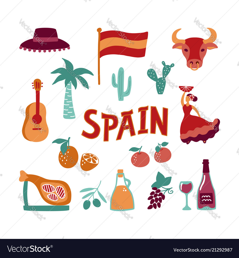 Collection hand drawn symbols of spain culture.