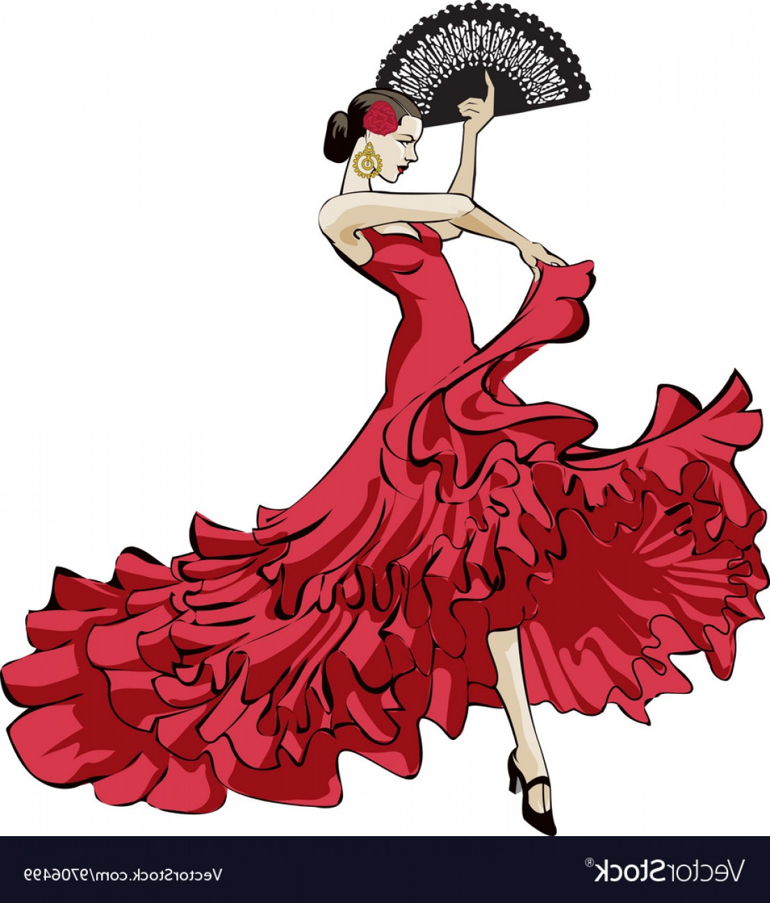 Flamenco Dancer Vector Spanish Dancers Clip Art.