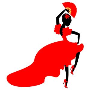 Lady Flamenco Dancer clipart, cliparts of Lady Flamenco.