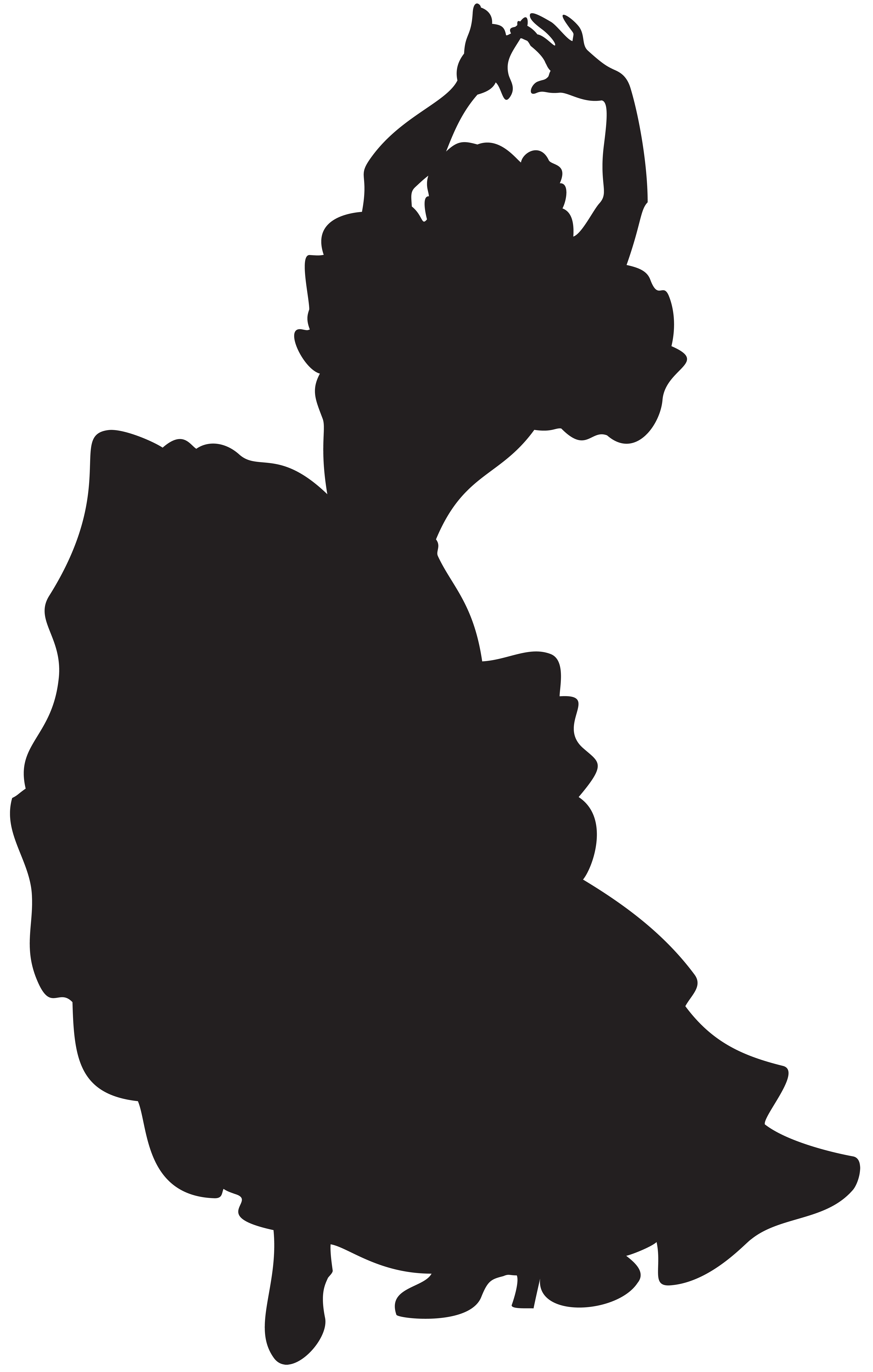 Spanish Dancer Silhouette Clip Art Image.