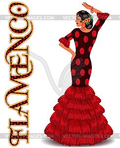 Flamenco. Elegant spanish dancing girl . Flamenco party.