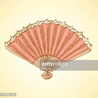 Sketch Spanish Fan IN Vintage Style premium clipart.