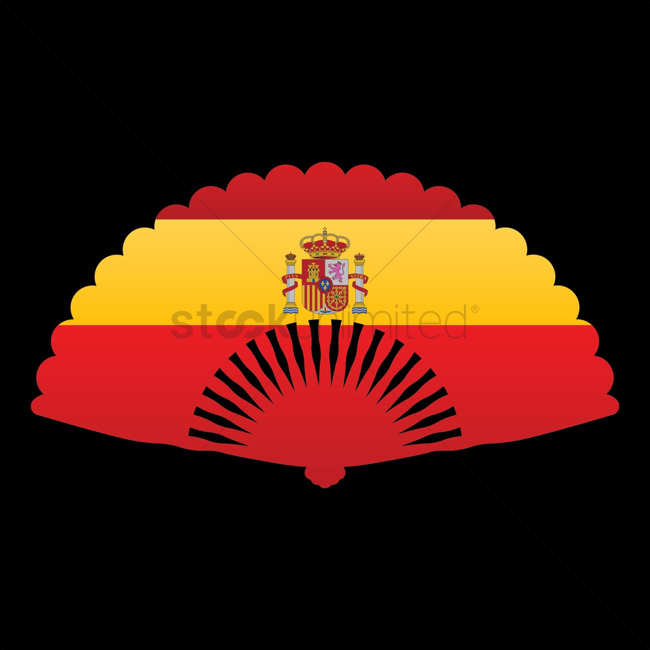 Spanish fan with spain flag Vector Image.