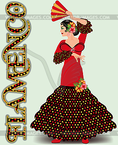 Flamenco. Spanish flamenco dancing girl with fan. vecto.