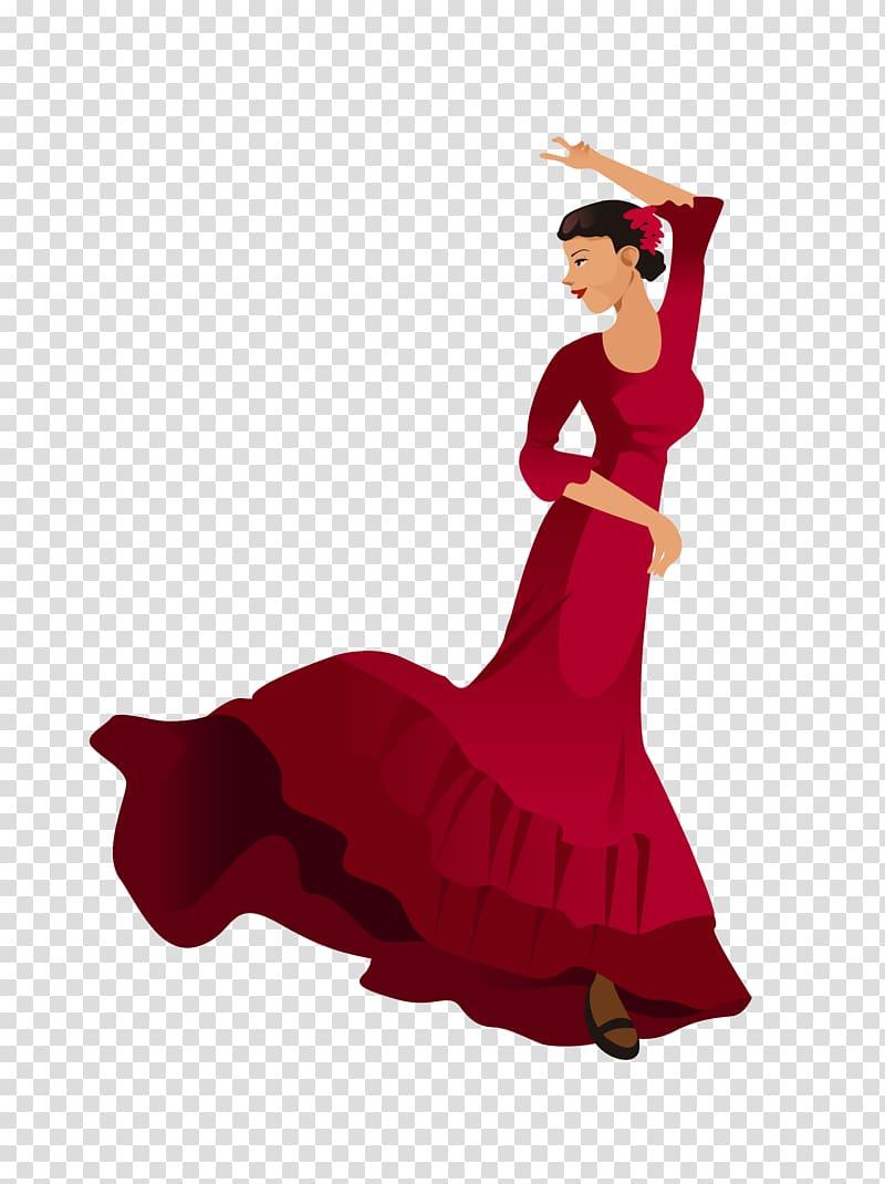 Spain Flamenco Illustration, Dancers transparent background.