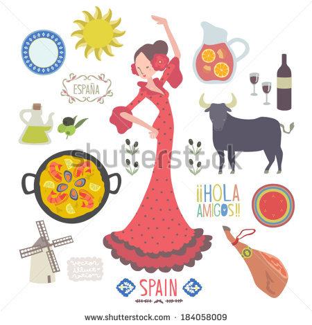 Spain Landmarks Symbols Set Stock Vector 196321655.