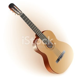 Classical Spanish guitar. Isolated on white background.