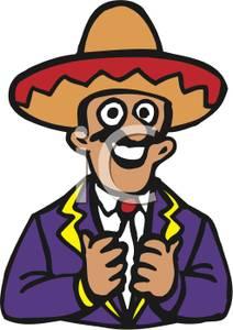 Sombrero Clip Art Black And White spanish man with sombr...