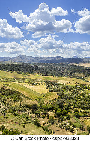 Stock Photo of Ronda landscape view. A city in the Spanish.