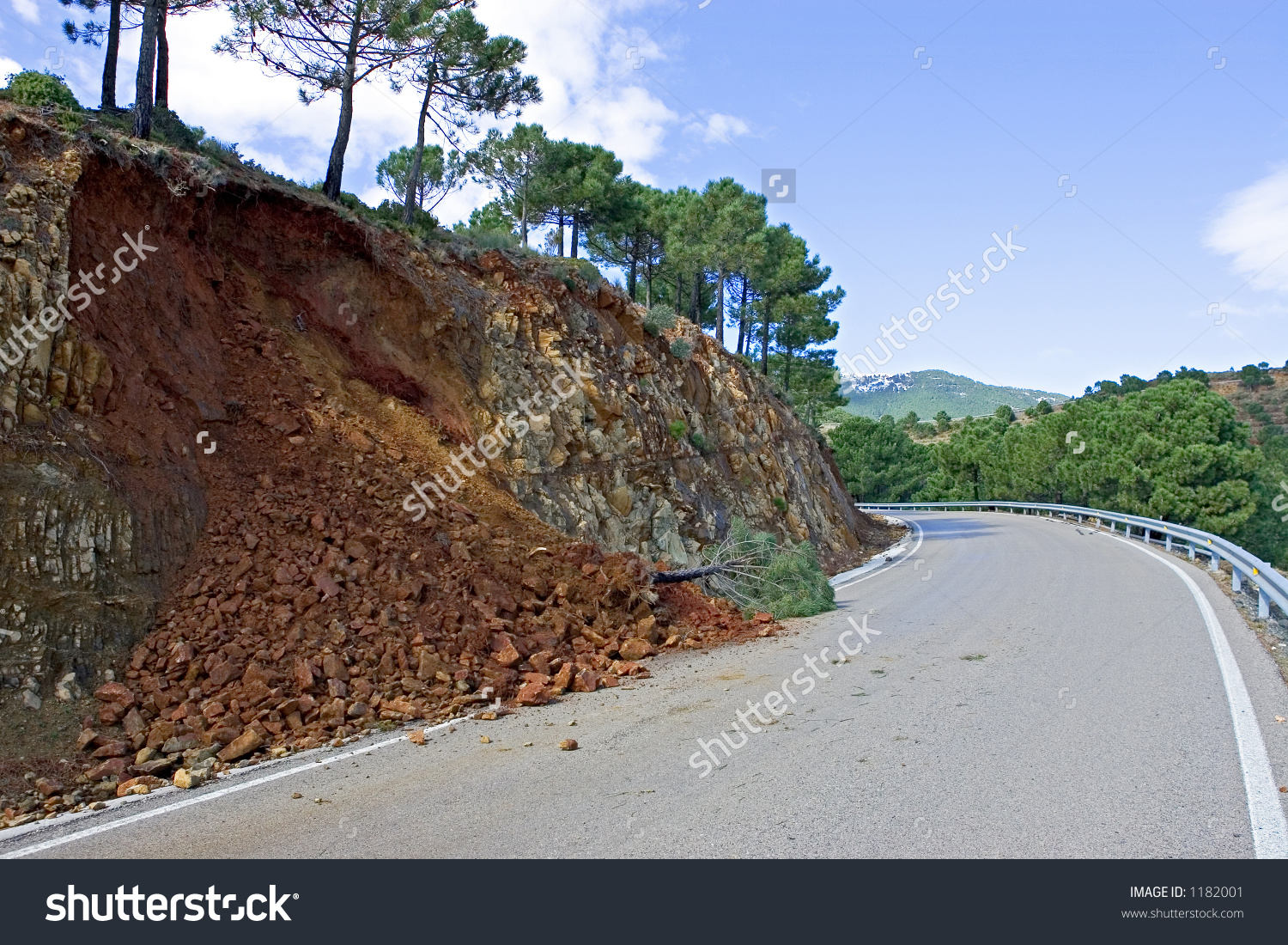 Land Mudslide On Mountain Road After Stock Photo 1182001.