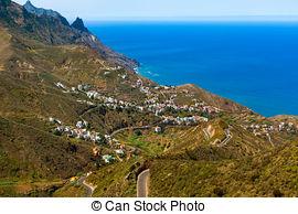 Stock Photographs of Mountain Road in Taganana, Tenerife, Spain.