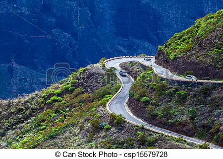 Stock Photo of Dangerous Mountain Road in Tenerife, Spain.