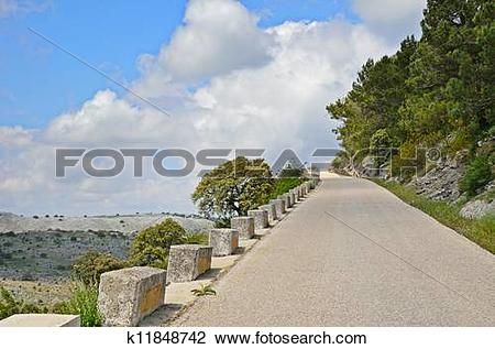 Stock Photo of Mountain road in spring Spain k11848742.