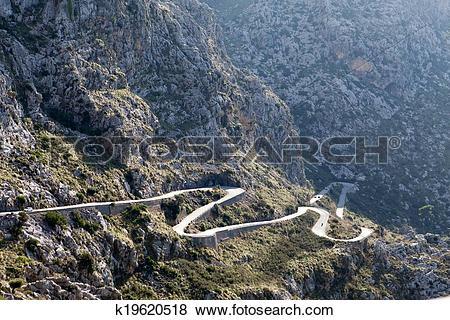 Pictures of Winding road in mountain Tramuntana near Sa Calobra in.