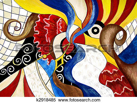 Stock Illustration of Abstract painting of Spanish themes k2918485.