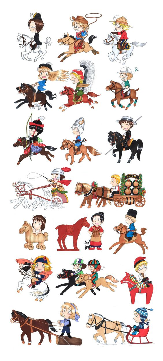 """Horse culture around the world"""" by akabeko. In order they are."""